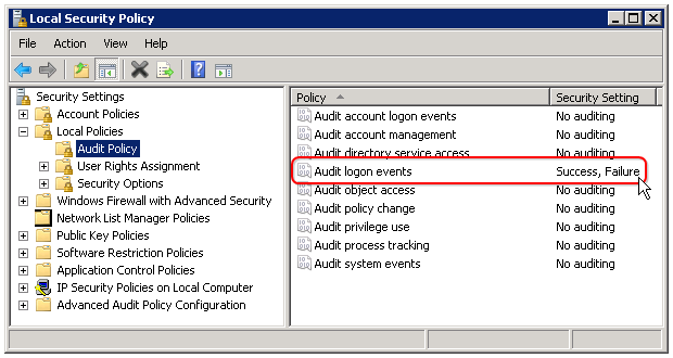 Configured Audit Policy