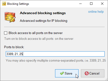How to block only particular Ports