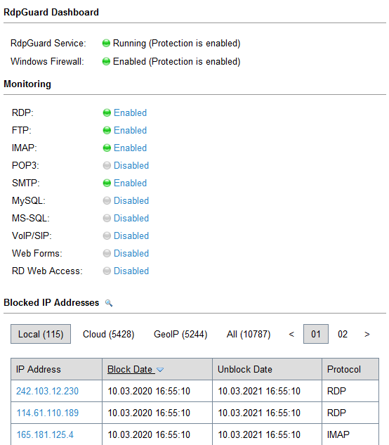Screenshot of RdpGuard