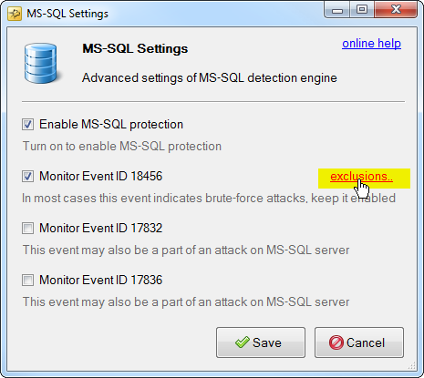 mysql exclusions link