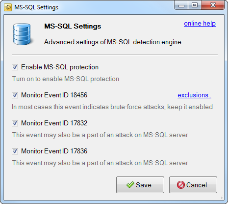 mssql protection settings