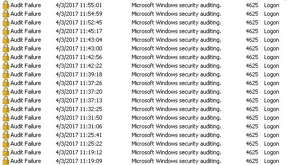 Failed logon entries in Security event log