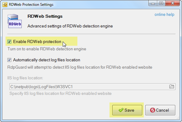 Enable RD Web Access Protection
