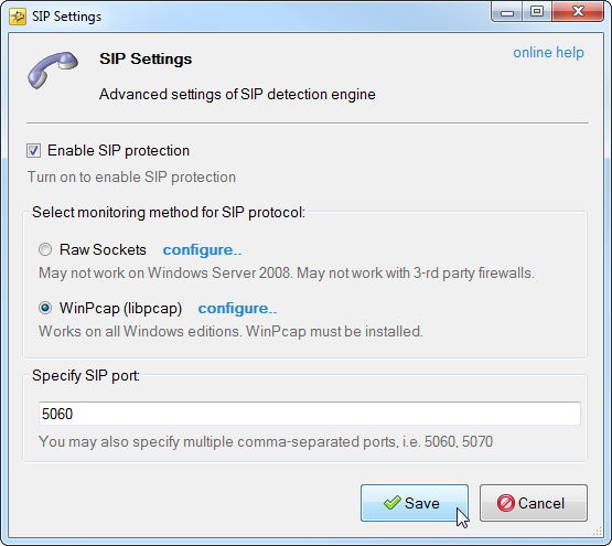 sip detection engine settings