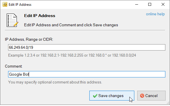 Screenshot of Edit IP Address Dialog